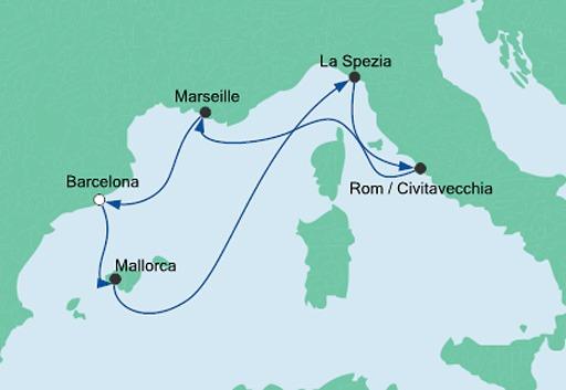 mapa AIDAnova rejs Śródziemnomorskie Krajobrazy z Barcelony