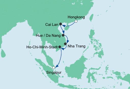 Mapa rejsu Hongkong, Wietnam, Singapur statkiem AIDAvita