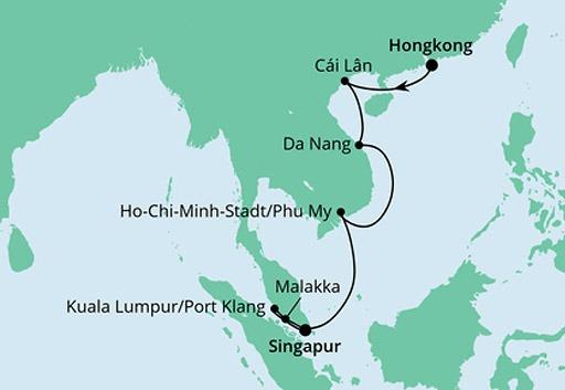 mapa AIDAvita Hongkong, Wietnam, Singapur i Malezja