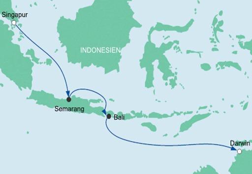 Mapa rejsu Z Singapuru do Darwin statkiem AIDAvita