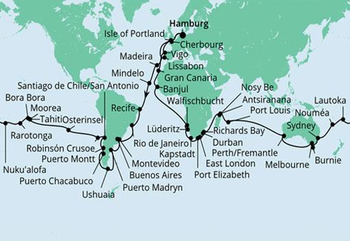 Mapa AIDAaura rejs dookoła świata