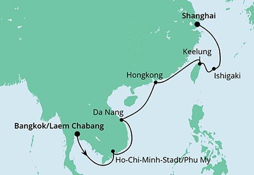 mapa AIDAbella rejs z Bangkoku do Szanghaju