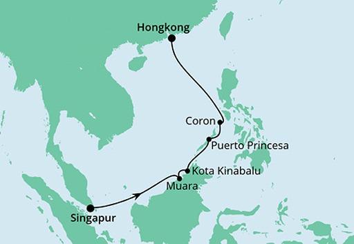 mapa AIDAcara rejs Brunei, Filipiny i Hongkong