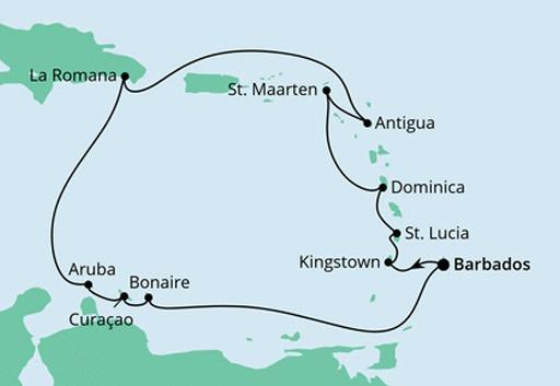 mapa AIDAperla Wyspy Karaibskie z Barbadosu