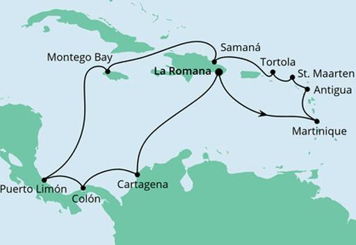 mapa AIDAluna Karaiby i Ameryka Środkowa z Dominikany