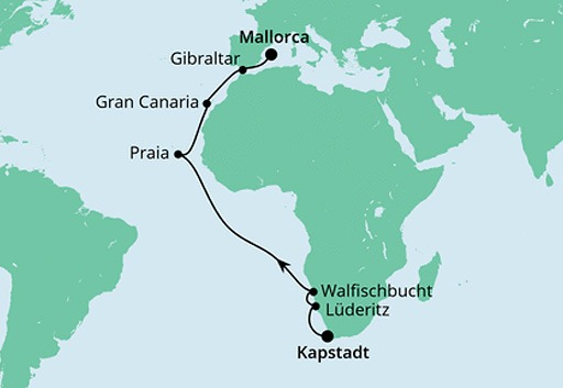 mapa AIDAmira rejs z Kapsztadu na Majorkę