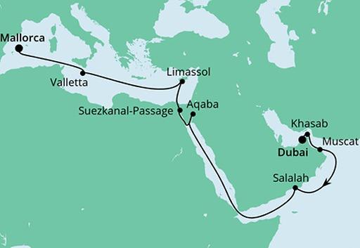 mapa AIDAvita rejs z Dubaju na Majorkę