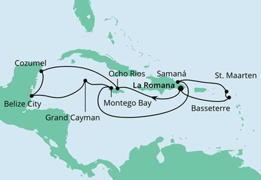 mapa AIDAdiva rejs Karaiby i Meksyk z Dominikany