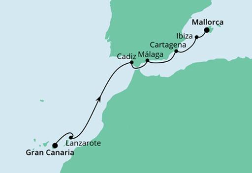 Mapa AIDAstella z Gran Canarii na Majorkę