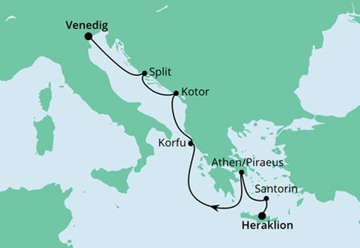 Mapa rejsu z Krety do Wenecji statkiem AIDAblu