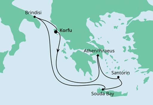 Mapa rejsu Grecja i Włochy statkiem AIDAmira