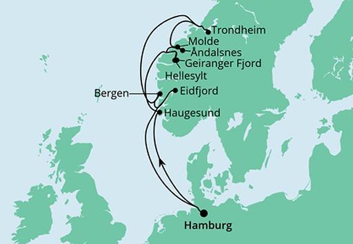 mapa AIDAsol Fiordy Norwegii