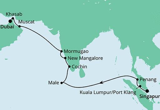 mapa AIDAbella rejs z Singapuru do Dubaju