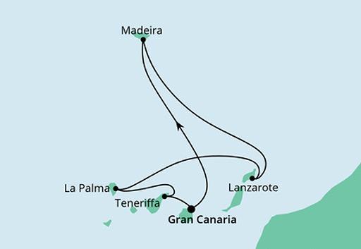 mapa AIDAmar rejs Wyspy Kanaryjskie i Madera
