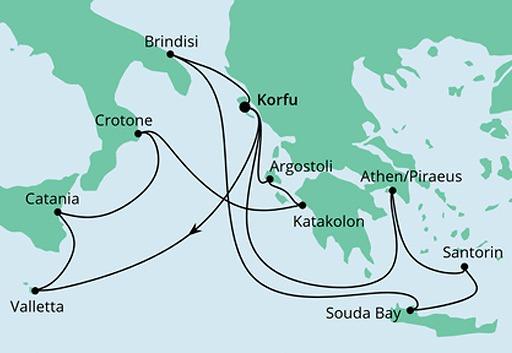 mapa AIDAmira rejs Grecja i Wyspy Śródziemne