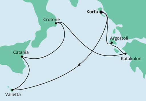 mapa AIDAmira rejs Wyspy Morza Śródziemnego z Korfu