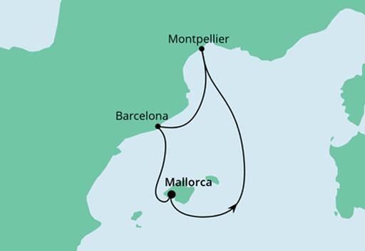 Mapa AIDAcara Hiszpania i Francja