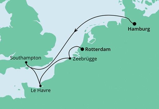 Mapa AIDAprima Z Hamburga do Rotterdamu
