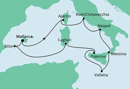mapa AIDAstella rejs Włochy i Śródziemnomorskie Wyspy