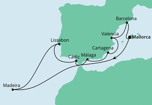 Mapa AIDAstella Hiszpania i Portugalia z Maderą