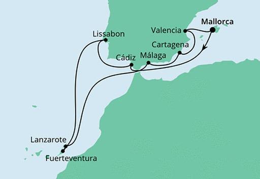 mapa AIDAsol Hiszpania, Portugalia i Wyspy Kanaryjskie
