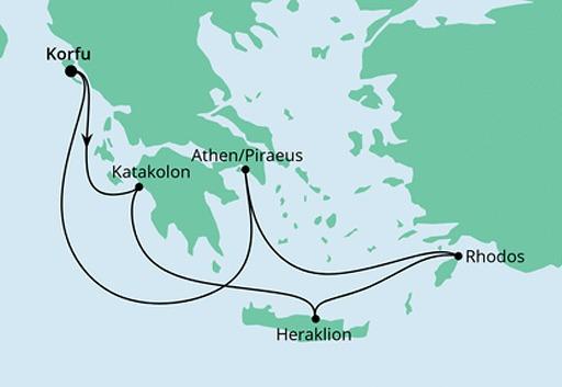 mapa AIDAblu rejs Greckie Wakacje