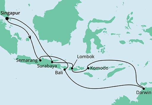 mapa AIDAcara rejs Australia i Indonezja