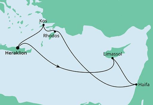 mapa AIDAcara rejs Grecja, Cypr i Izrael