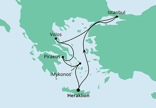 mapa AIDAcara Morze Egejskie