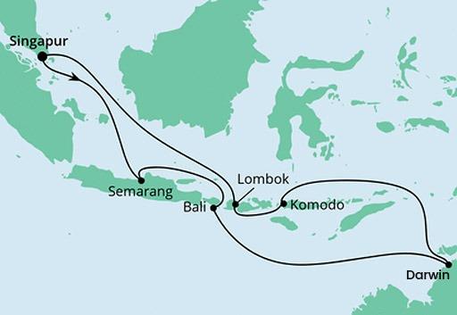 mapa AIDAvita rejs Australia i Indonezja 2
