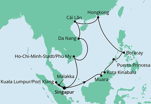 mapa AIDAvita rejs Filipiny, Hongkong i Wietnam