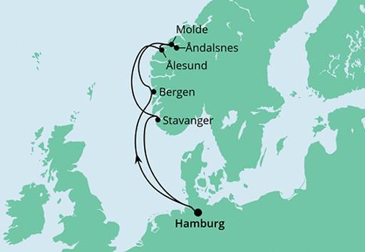 mapa AIDAprima rejs Norweskie Fiordy