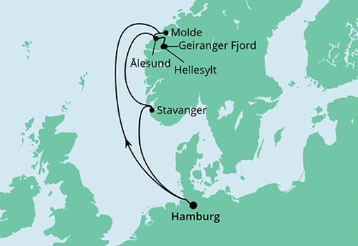 mapa AIDAprima Norweskie Fiordy