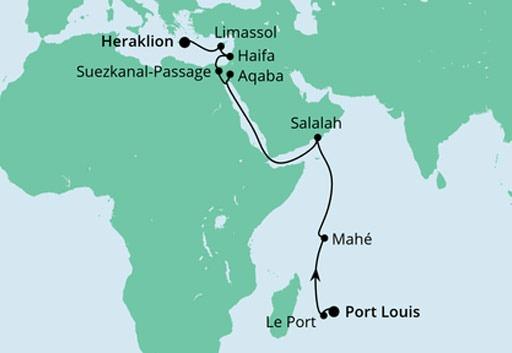mapa AIDAblu z Mauritiusu na Kretę