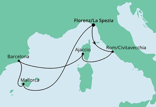 mapa AIDAnova rejs Śródziemnomorskie Krajobrazy z La Spezii