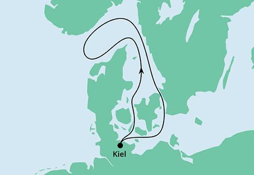 mapa AIDAblu rejs z Kilonii