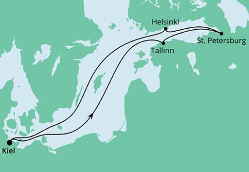 mapa AIDAcosma rejs Morze Bałtyckie