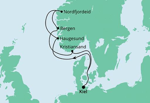 mapa AIDAcosma rejs Norweskie Fiordy