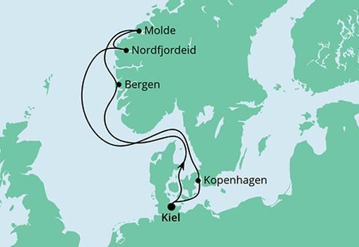 mapa AIDAcosma rejs Norweskie Fiordy 3