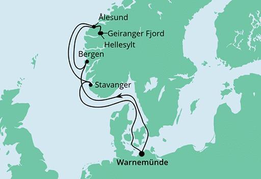mapa AIDAdiva rejs Norweskie Fiordy