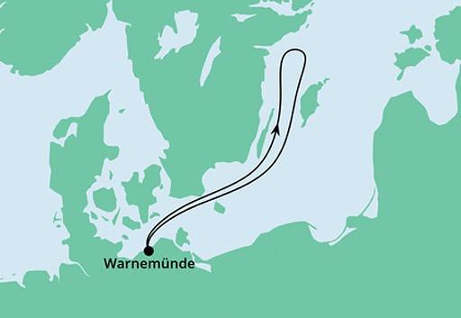 mapa AIDAmar rejs z Warnemunde