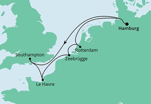 mapa AIDAprima rejs Metropolie z Hamburga
