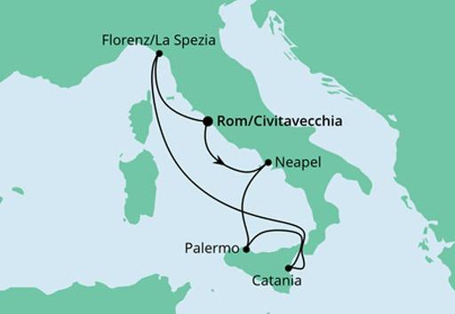 mapa AIDAblu rejs Bella Italia z Civitavecchia