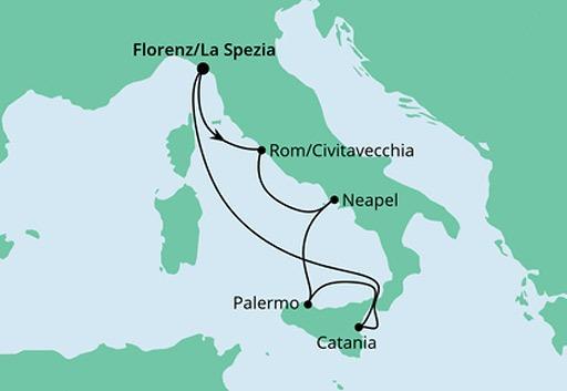 mapa AIDAblu rejs Bella Italia z La Spezia