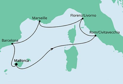 mapa AIDAstella rejs Perły Morza Śródziemnego