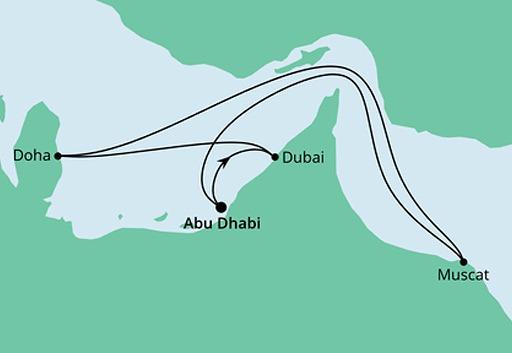 mapa AIDAcosma rejs Arabskie Noce z Abu Zabi