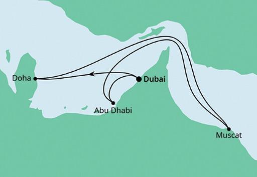mapa AIDAcosma rejs Arabskie Noce z Dubaju