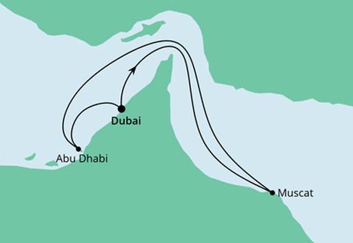 mapa AIDAnova rejs Arabskie Noce z Dubaju
