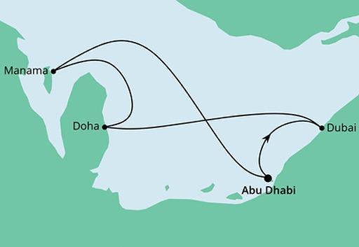 mapa AIDAcosma rejs Emiraty, Katar i Bahrajn z Abu Zabi