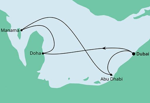 mapa AIDAcosma rejs Emiraty, Katar i Bahrajn z Dubaju
